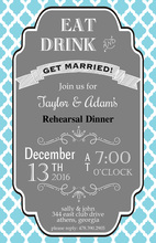 Aqua Geometric Tile Background Invitation