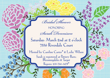 Aqua Crosshatch Bright Floral Invitation