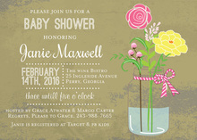 Pink Ribbon Mason Jar Flowers Invitation