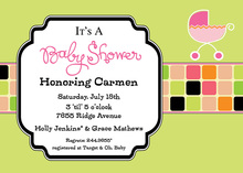 Vintage Green Tiles Pink Buggy Invitation