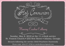 Pink Crosshatch First Holy Communion Invitation