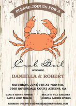 Crab Boil Woodgrain Invitation