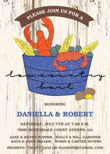 Low Country Boil Woodgrain Invitation