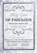 Purple Brushed Border Silver Glitter Fifty Invitation