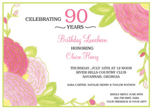 Pink Flowers Green Border Invitation