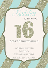 Aqua Stripes Faux Glitter 16th Invitation
