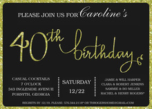 Green Glitter Graphic Border 40th Invitation