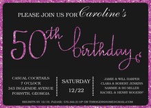 Purple Glitter Graphic Border 50th Invitation