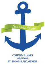 Green Banner Navy Anchor Invitation