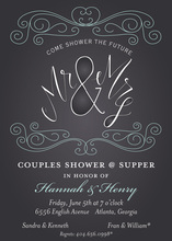 Aqua Flourish Grey Glow Invitation