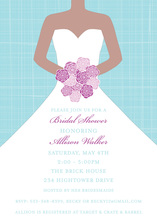 Blue Crosshatch Purple Floral Bride Invitation
