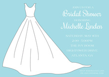 White Bridal Gown on Aqua Invitation
