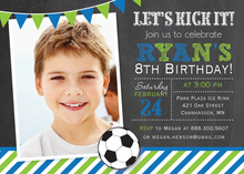 Blue Green Stripes Soccer Chalkboard Photo Invitations