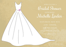 White Bridal Gown Tan Stucco Rustic Invitation