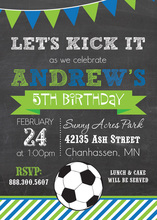 Blue Green Stripes Soccer Chalkboard Invitations