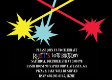 Lazer Tag Dueling Beams Birthday Party Invitations