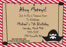 Pirate Treasure Scroll Birthday Party Invitations