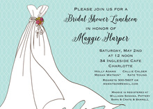 Wedding Gown Aqua Interwoven Invitation