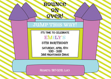 Purple Bounce House Birthday Party Invitations