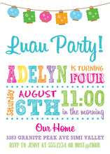 Luau Crisp Multicolor Lanterns Birthday Invitations