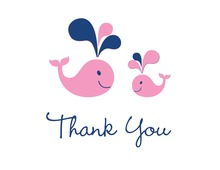 Pink Whale Splash Thank You Cards