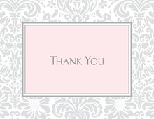 Light Grey Damask Pink Frame Thank You Cards