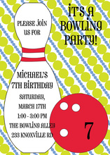 Green Modern Polka Dots Red Bowling Party Invitations