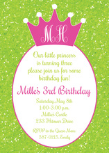 Green Glitter Pink Princess Crown Birthday Invitations