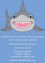 Happy Shark Birthday Party Invitations