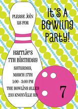 Girly Pink Bowling Birthday Party Invitations