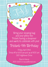 Monogram Sleepover Party Birthday Invitations