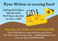 Construction Crew Yellow Bulldozer Invitations