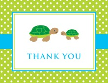 Turtle Baby Blue Green Polka Dots Thank You Cards