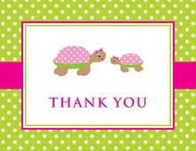 Turtle Baby Pink Green Polka Dots Thank You Cards