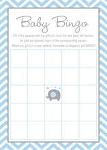 Blue Chevron Elephant Baby Shower Bingo Game