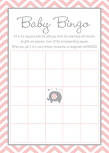Pink Chevron Elephant Baby Shower Bingo Game