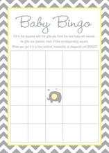 Yellow Chevron Elephant Baby Shower Bingo Game