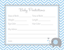 Blue Chevron Elephant Baby Prediction Cards