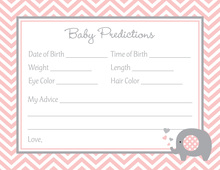 Pink Chevron Elephant Baby Prediction Cards