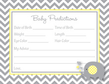 Chevron Yellow Elephant Baby Prediction Cards