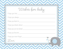 Blue Chevron Elephant Baby Wish Cards
