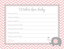 Pink Chevron Elephant Baby Wish Cards