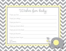 Chevron Yellow Elephant Baby Wish Cards