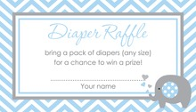 Blue Chevron Elephant Raffle Cards
