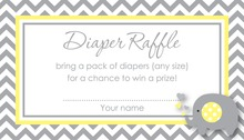 Chevron Yellow Elephant Baby Raffle Cards