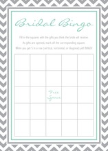 Grey Chevron Aqua Bridal Shower Bingo Game