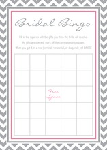 Grey Chevron Pink Bridal Shower Bingo Game