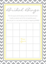 Grey Chevron Mustard Bridal Shower Bingo Game
