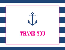Navy Stripes Anchor Pink Nautical Note