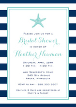 Navy Stripes Starfish Aqua Invitations
